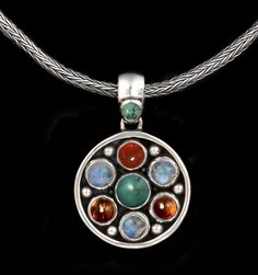 Semi Precious Gemstone Necklace with Rainbow Moonstones, Tibetan Turquoise, Baltic Amber & Carnelian. Handcrafted Sterling Silver by Bluemoonstone Creations
