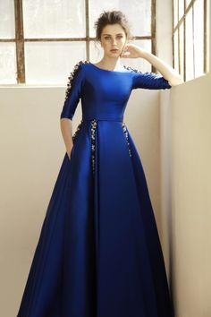 "Royal blue silk ball-gown with glass beaded drop on chain from waste band | ""NORA"" 