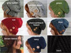 Hand Knit Hat Womens Knit Hat Slouchy Beanie by TikiFiberCrafts