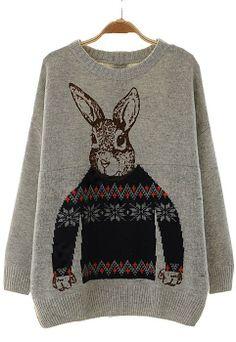 Rabbit print sweater    dresslily.com