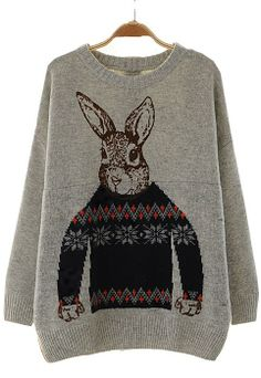 Rabbit print sweater