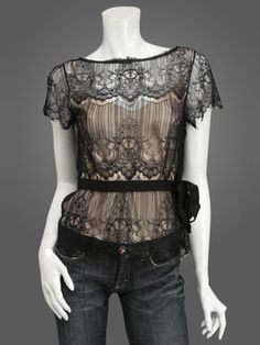 I love this look, from the the feminine lace to black on nude.