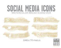Watercolor Social Media Icons - 004 / Social Media Icons / Blog Buttons / Social Networking / Facebook / Twitter / Etsy / Pinterest.