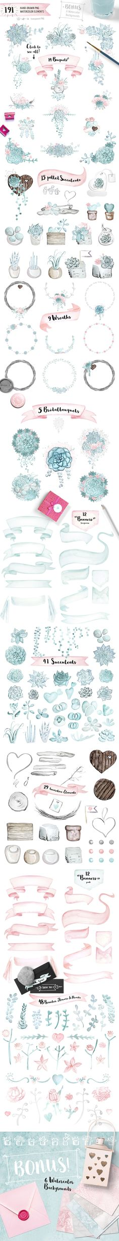 Succulent Watercolor Wedding by Doris Nawratil on Creative Market - Ideen finanzieren Watercolor Wedding, Watercolor Cards, Watercolor Background, Watercolour, Watercolor Design, Watercolor Border, Art And Illustration, Save The Date Designs, Digital Paintings