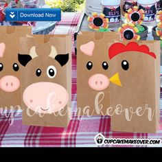 Turn simple brown bags into cute farm themed favor bags easily with these barnyard animal cutouts! #cupcakemakeover