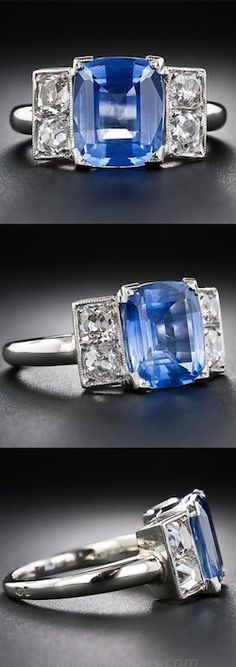 *3.91 Carat Sapphire Platinum and Diamond French Art Deco Ring, A stunning and sophisticated original Art Deco ring, crafted in platinum, circa 1930, and featuring a bright cornflower blue Ceylon sapphire weighing just under four carats. The colorful gemstone is guarded left and right by a pair of glistening old-mine cushion-cut diamonds, all four weighing .60 carats total. French import marks.