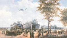 """Litho Peter J. Sterkenburg, 1995. """"Operatie Product"""", landing van de Mariniersbrigade bij Pasir Poet..."""