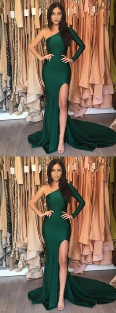 Modern Emerald Green One Shoulder Long Sleeve Side Slit Long Evening Prom Dresses Emerald Prom Dress, Prom Dresses, Long Sleeves Evening Dresses, Evening Dresses Long, Prom Dress Green Prom Dresses 2019 Split Prom Dresses, Prom Dresses For Teens, Formal Dresses For Women, Mermaid Prom Dresses, Cheap Prom Dresses, Prom Gowns, Party Dresses, Green Prom Dresses, Hunter Green Dresses