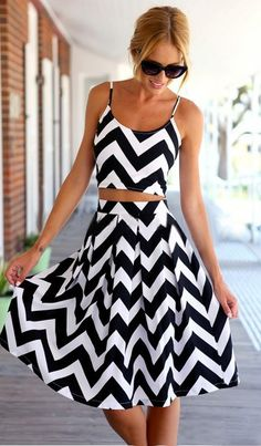 Love this Dress! So Cute! Chic Stylish Black and White Wave Pattern Striped 2-in-1 Dress #Black_and_White #Zig_Zag #Midi_Dresses #Beach #Dresses #Sun_Dresses
