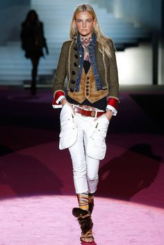 Mode-Trend: Jeansjacken:-) Jeansjacke im Layer-Look bei Dsquared2, Runway Herbst/Winter 2015/16