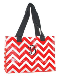 Chevron Red Large Tote with Free Embroidery  Measures 18 W x 13 H x 7 D  Our Large Tote will quickly become your go-to-bag! Use it for groceries {holds 50lbs}, beach accessories {water resistant} or potlucks {wipes clean}. When youre done, simply fold and store it away. The Large Tote is made of laminated polypropylene. Extra wide nylon straps fit comfortably over the shoulder. This item looks great when personalized with embroidery.  Pictured: Curly Q font  Select the following from the…