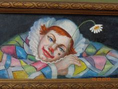 Oil Painting, original art, fine vintage painting. Rare signed lady, woman clown #FineArt