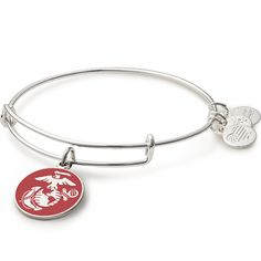 Marine Corps Charm Bangle Bracelet channels the enduring commitment and strength of the Marines. Available in Shiny Silver or Shiny Gold finish. Pandora Leather Bracelet, Bangle Bracelets With Charms, Pandora Bracelets, Bangles, Wrap Bracelets, Marine Corps, Antique Jewelry, Vintage Jewellery, Silver