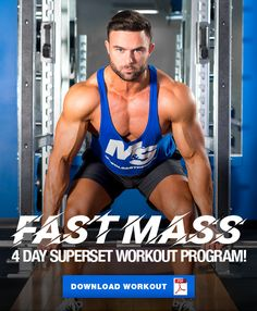 Fast Mass Program: The 4 Day Superset Split Workout - - Tired of spending hours in the gym without getting the results you want? Try the Fast Mass program; a superset workout to get you pumped and on your way! Bodybuilding Routines, Best Bodybuilding Supplements, Bodybuilding Training Program, Strength Training Program, Strength Workout, Gym Program, Workout Programs, Hitt Workout