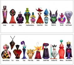 disney perfume bottles. So cool! I think The Evil Queen's is my favorite. Or maybe Queen of Hearts