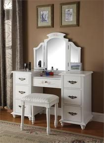 Acme Torian 3 pc white finish wood make up dressing table vanity set with stool and tri-fold mirror - Furniture & Mattresses - Bathroom Furniture - Vanity Sets White Vanity Set, White Makeup Vanity, Vanity Table Set, Makeup Table Vanity, Vanity Set With Mirror, Vanity Desk, Makeup Tables, Table Mirror, Makeup Desk