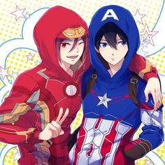 Free! || Rin as IronMan and Haru as Captain America
