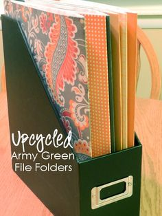 Upcycled Army Green File Folders | how to make nicer looking folders with scrapbook paper