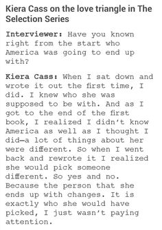 Kiera Cass on the love triangle in The Selection Series