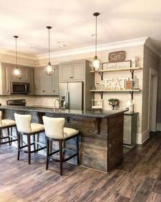 Are you looking for rustic kitchen design ideas to bring your kitchen to life? I have here great rustic kitchen design ideas to spark your creative juice. Country Kitchen Designs, Country Kitchen Farmhouse, Modern Farmhouse Kitchens, Home Kitchens, Farmhouse Style, Farmhouse Ideas, Kitchen Rustic, Country Bar, Country Decor