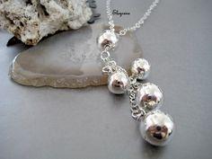 925 Sterling Silver Ball Tassel Necklace-Mala silver ball Necklace-Simple Silver jewelry-Zen Simple Silver Necklace-Corbatin en Plata 925 by elsyrene on Etsy