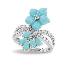 14k White Gold Turquoise, Tanzanite and Diamond Flower Ring
