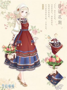 What the people of Poland would look like! 奇迹暖暖 's Weibo_Weibo Anime Kimono, Anime Dress, Anime Outfits, Girl Outfits, Marie Cardouat, Vestidos Anime, Dress Up Diary, Art Kawaii, Kleidung Design