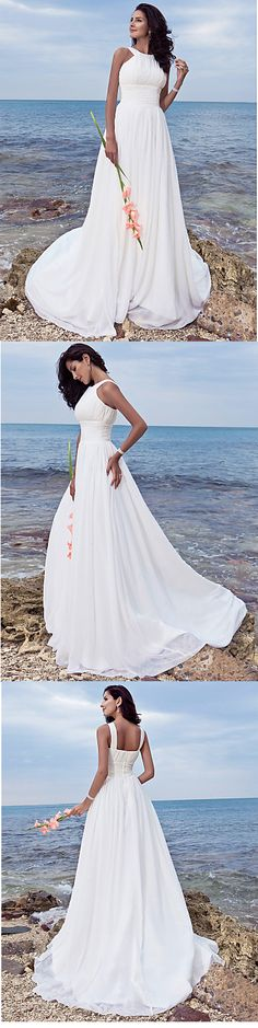 Perfect for a wedding ceremony on the beach. Get this stunning chiffon sheath wedding dress with sweep train. Just click on the picture!