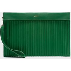 DKNY Pinstripe Pouch (3,675 MXN) ❤ liked on Polyvore featuring bags, handbags, clutches, viridian, green clutches, green handbags, pouch purse, dkny handbags and dkny