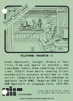Postcard ad for Telephone Transfer II program (1982). Countdown Timer, Integers, Telephone, Connection, Software, Hold On, Positivity, Phone, Naruto Sad