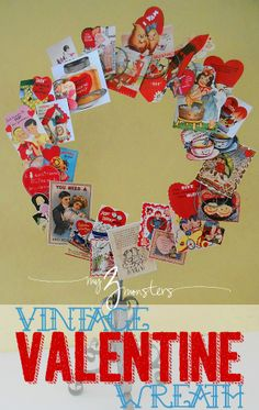 vintage valentine wreath Crafting A Vintage Valentines Day My Funny Valentine, Vintage Valentine Cards, Valentine Wreath, Valentine Day Crafts, Valentine Decorations, Vintage Cards, Valentine Ideas, Diy Crafts To Do, Tree Crafts