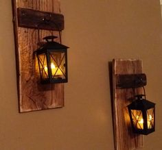 Rustic wood candle holder with lantern, wood sconce, pallet decor, candle holder, hanging lantern price is for 1 Each Rustic Candle Holders, Rustic Candles, Rustic Wood, Rustic Decor, Wood Sconce, Candle Sconces, Candle Jars, Hanging Lanterns, Wall Lantern