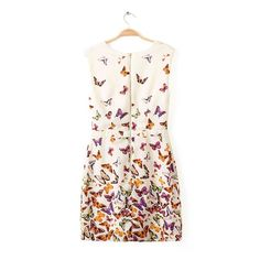 White Sleeveless V-neck Butterfly Print Zipper Dress