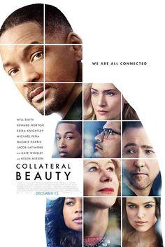 Commerciële affiche voor de film Collateral Beauty. De achtergrond kleur is wit. In de voorgrond zie je verschillende personen, hierdoor komt huidskleur heel vaak terug, deze gaat van bruin tot wit. De titel van de film staat links onder het midden in drukletters. Het woord 'beauty' staat groter en meer gespatieerd.