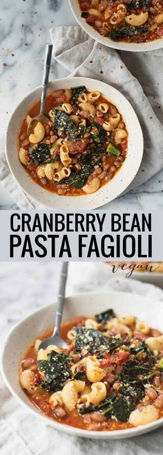Business Cookware Ought To Be Sturdy And Sensible Cranberry Bean Pasta Fagioli This Healthy Soup Is Packed With Plant-Based Protein, Kale And Tomatoes. Healthy Soup Recipes, Bean Recipes, Pasta Recipes, Whole Food Recipes, Vegetarian Recipes, Healthy Foods, Dinner Recipes, Dessert Recipes, Pasta Fagioli