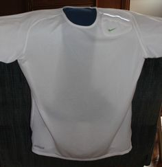 Nike Men's L Workout Running Shirt Sphere Dry Swoosh Key Pocket White/Blue   #Nike #Shirt