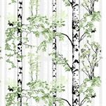 cotton Designed by Riina Kuikka for Vallila Black and white birch trees with leaves in various shades of green with gray reach toward the sky. We have 1 piece, Free domestic shipping on this item No Sew Curtains, Rod Pocket Curtains, White Birch Trees, Line Flower, Tree Forest, Marimekko, Shades Of Green, Slipcovers, New Homes