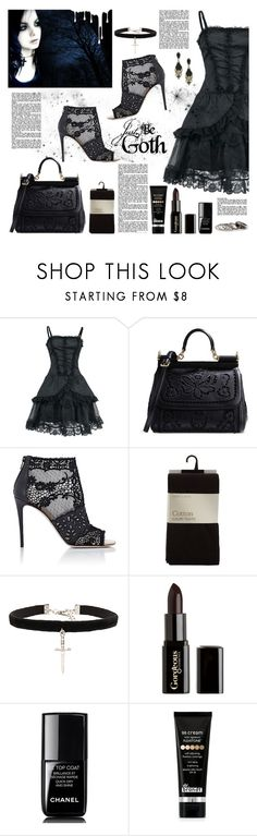 """""""Just be goth"""" by cassy-style ❤ liked on Polyvore featuring Dolce&Gabbana, Valentino, Vanessa Mooney, Gorgeous Cosmetics, Chanel, Dr. Brandt, MANGO and Nivea"""