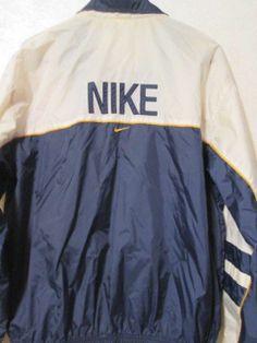 Mens Vintage Retro Nike Long sleeve Athletic Windbreaker Jacket Size Med #NIKE #Windbreaker