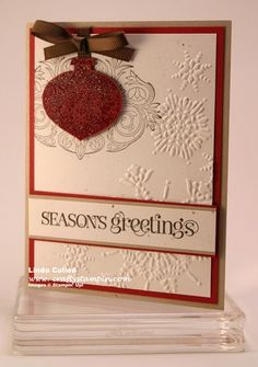 """Stampin' Up! - Stamps: Style Beautiful (W-116984, C-120483 ); Curly Cute (W-117014, C-120510); Tags til Christmas (W-120847, C-121169) / Ink: Early Espresso; Versamark Paper: Crumb Cake; Cherry Cobbler; Confetti Cream / Other: 1/4"""" Espresso Grosgrain Ribbon; Ornament punch; Big Shot; Northern Flurry Embossing Folder, Iridescent Ice Embossing Powder; dimensionals"""