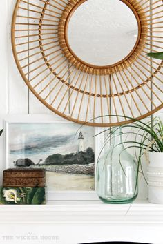 I Love this Rattan Mirror from Target - Livening up our Living Room from The Wicker House