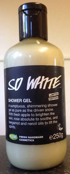 "So White Shower Gel: ""A sumptuous, shimmering shower gel as pure as the drive snow. With fresh apple to brighten the skin, rose absolute to soothe, and bergamot and neroli oils to lift the spirits"""