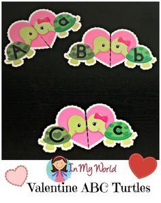 Valentine Hearts Alphabet Match  In My World  Worksheets Turtle