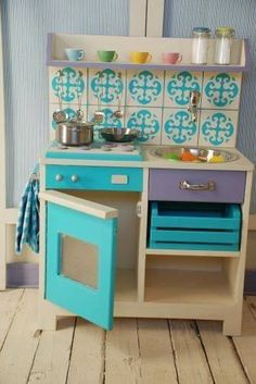 kid kitchens turquoise and wood kid kitchen
