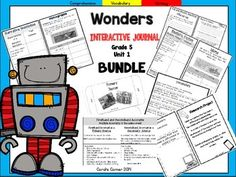This 5th grade, Unit 1 (Weeks 1-5) highly INTERACTIVE journal BUNDLE contains over 35 pages of student activities aligned to the McGraw Hill Wonders series. It is ideal for teaching all of the skills in this Unit in a powerful, student-friendly way!Complete Set Includes:Essential Question Response SheetMini Anchor Charts for each week's Comprehension Skill Graphic Organizers for each week's Comprehension SkillVocabulary Strategy for each weekGenre Study for each…
