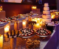 Let your event end on a sweet note with a wedding cake and dessert station.