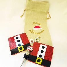 Christmas wine gift set hostess gift set wine charms wine bottle bag glass coasters bottle stopper