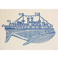 Whaleboat Letterpress Print by Kyler Martz  |  Love his illustration style and tattoos!!!