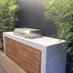 bbq with concrete waterfall.