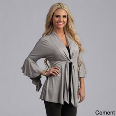 Get glamorous by wearing this loose-fitting flutter sleeve dress. The V-neck front is instantly flattering and the single-tie front makes this garment a good choice for experimenting with a layered look. Pick from several colors to suit preferences.